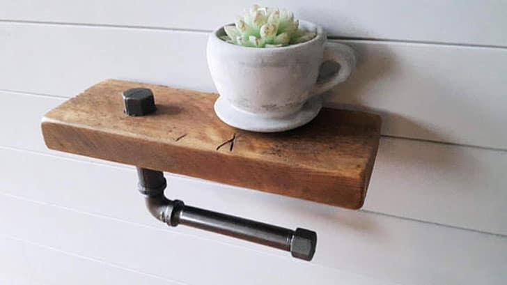 Reclaimed Wood Plant Shelf Toilet Roll Holder
