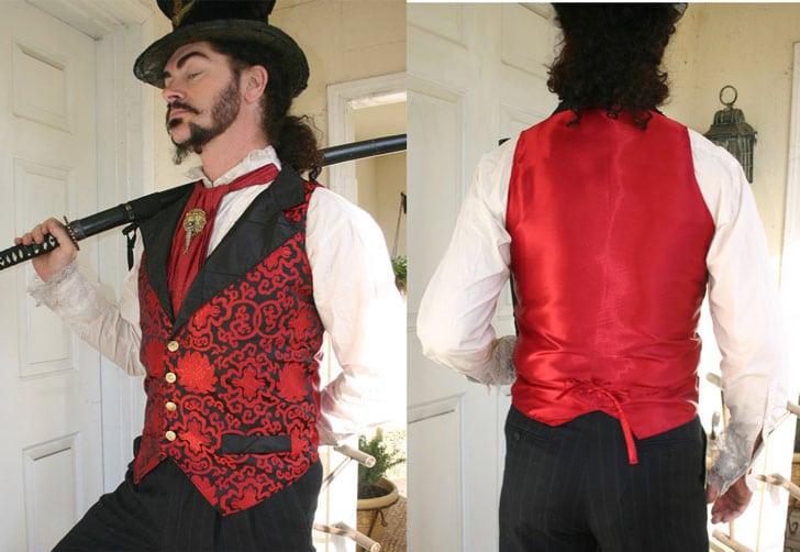Red and Black Steampunk Victorian Lapeled Gentlemen's Vest