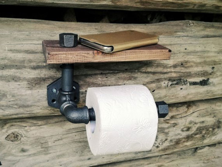 Rustic Industrial Toilet Paper Holder With Shelf