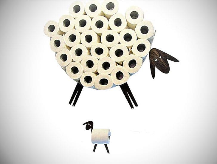 Sheep Decal Wall Shelf Toilet Paper Holder