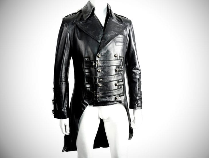 Spectacular Mens Black Leather Steampunk Tailcoat Jacket