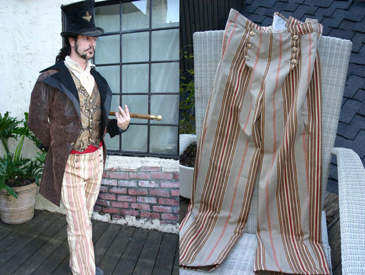 Stripe Button Flap Front Steampunk Tapestry Pants