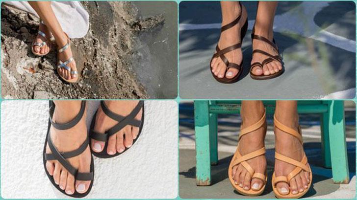 Triskelion Greek Leather Sandals