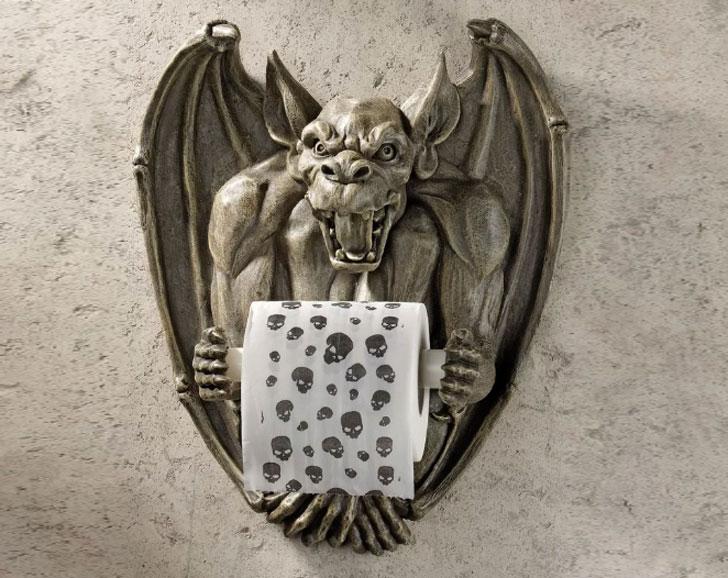 Wall Mounted Flush Gargoyle Bathroom Tissue Holder