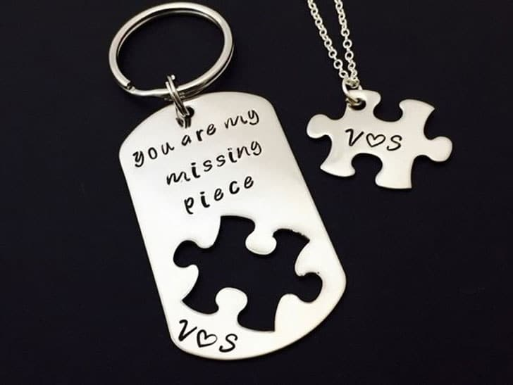You Are My Missing Piece Keychain and Necklace Set