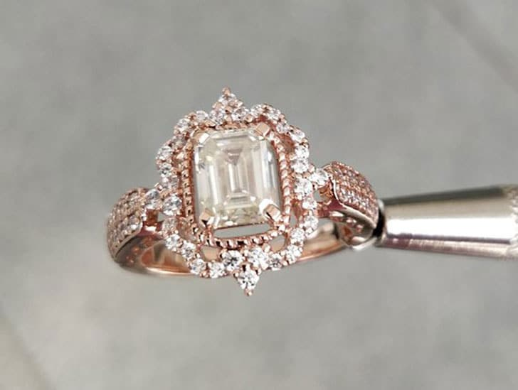 1.50 CT Emerald Cut White Moissanite with 14KT Rose Gold Engagement Ring