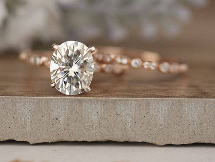 10x8mm Oval Moissanite Rose Gold Engagement Ring
