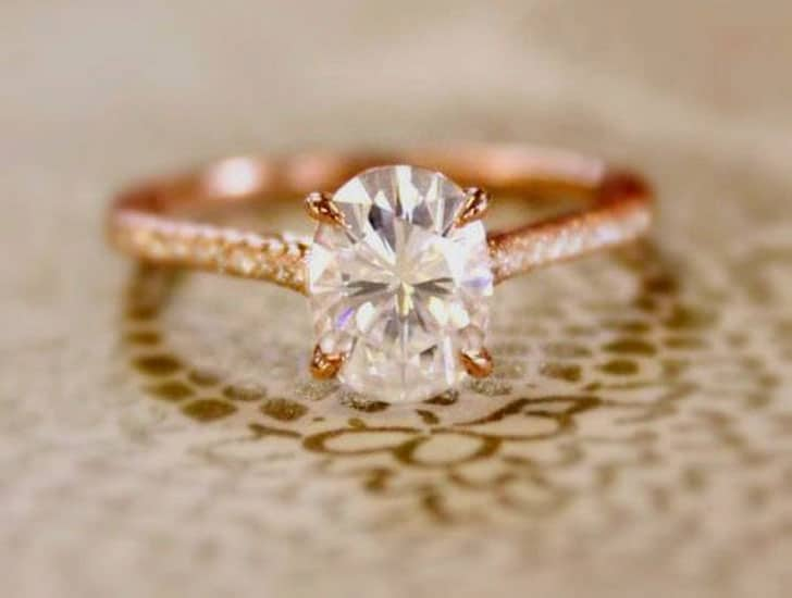 2 Carat White Sapphire Rose Gold Engagement Ring