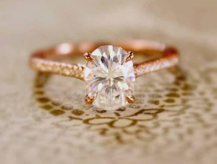 2 Carat White Sapphire Rose Gold Engagement Ring