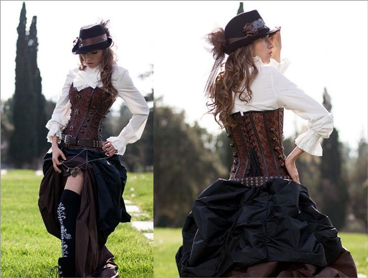 3 Pc Victorian Brown Corset & Double Bustle Steampunk Outfit