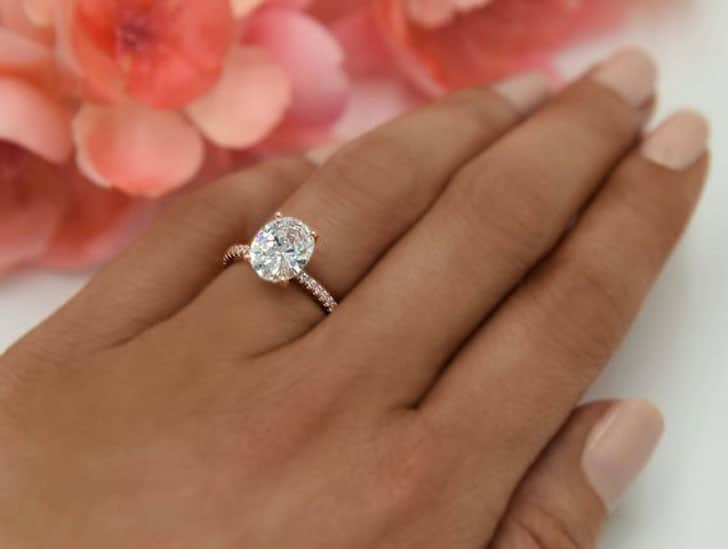 3.25 carat Oval Accented Solitaire Ring