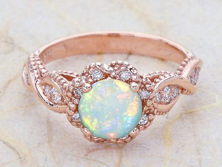 4k Vintage Rose Gold Engagement Ring with Opal Centre