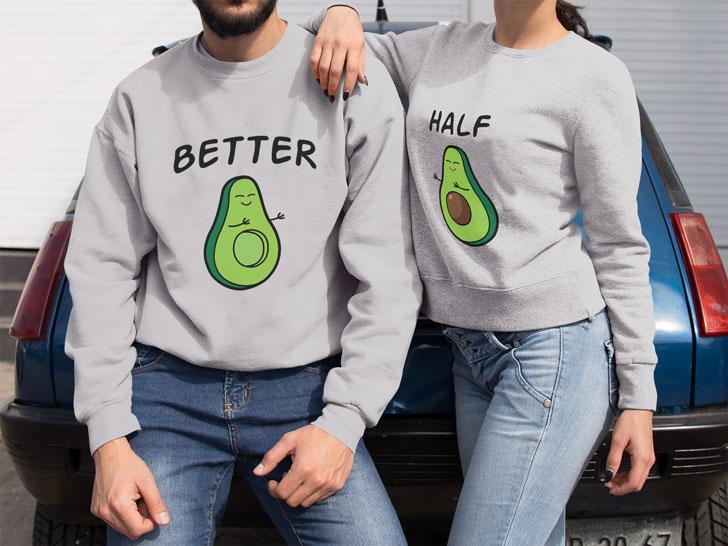 Avocado Halves Couples Sweaters