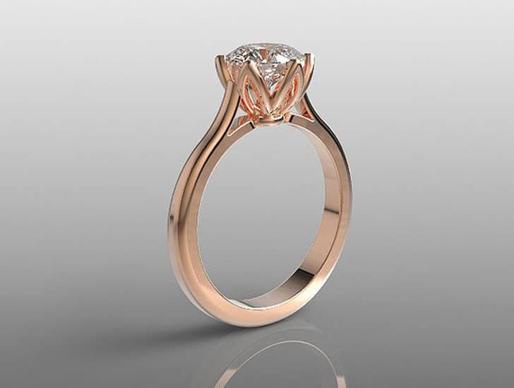 7mm Round White Topaz 14k Rose Gold Engagement Ring