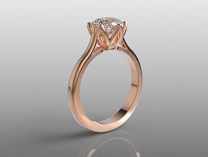 7mm Round White Topaz 14k Rose Gold Engagement Ring