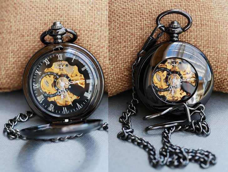 Black Personalized Mens Pocket Watch