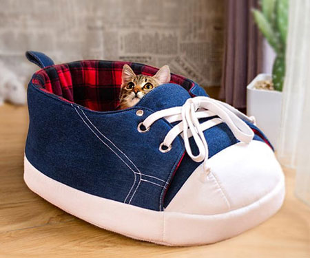 Blue Sneaker Cat Bed