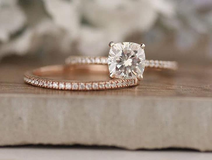 Bridal Ring Set with 6.5mm Cushion Forever Classic Moissanite and Diamonds in 14k Rose Gold