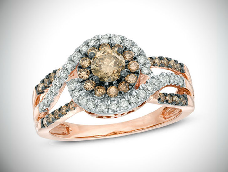 Champagne Diamond Cluster Frame Engagement Ring in 10K Rose Gold