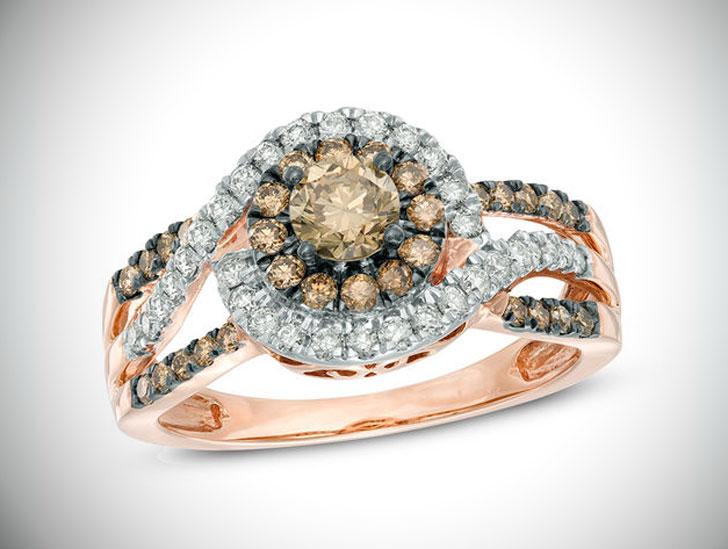 Champagne Diamond Cluster Frame Engagement Ring in 10K Rose Gold