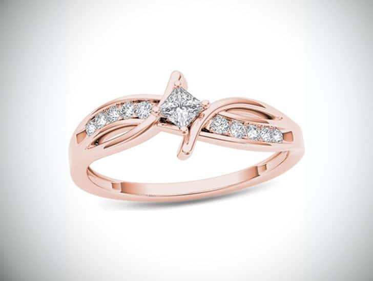 Diamond Crossover Bypass Promise Ring in 14K Rose Gold