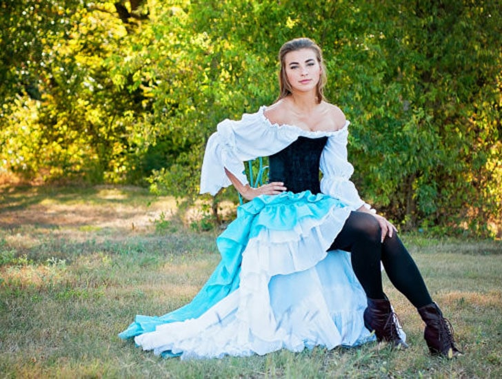 Fancy Aqua Turquoise Renaissance Cosplay Outfit