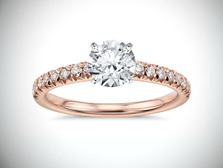 French Pavé Diamond Engagement Ring in 14k Rose Gold