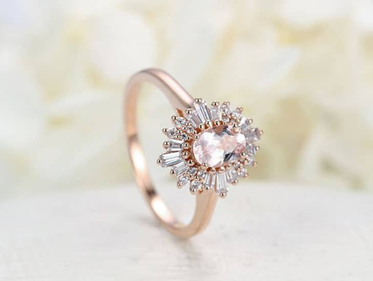 Halo Multi Baguette Flower Rose Gold Engagement Ring