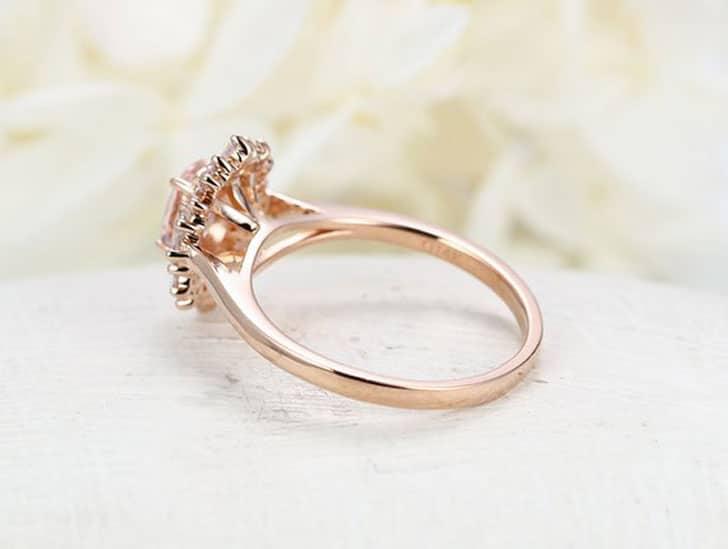 Halo Multi Baguette Flower Rose Gold Engagement Ring