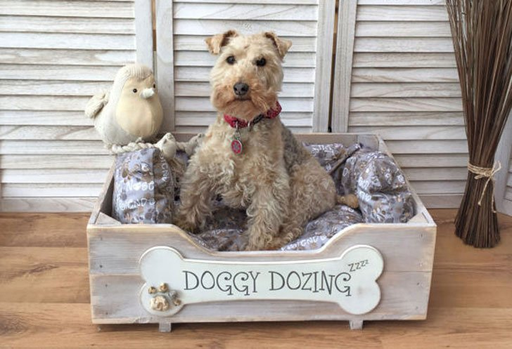 Hand-Crafted Wooden Dog Bed