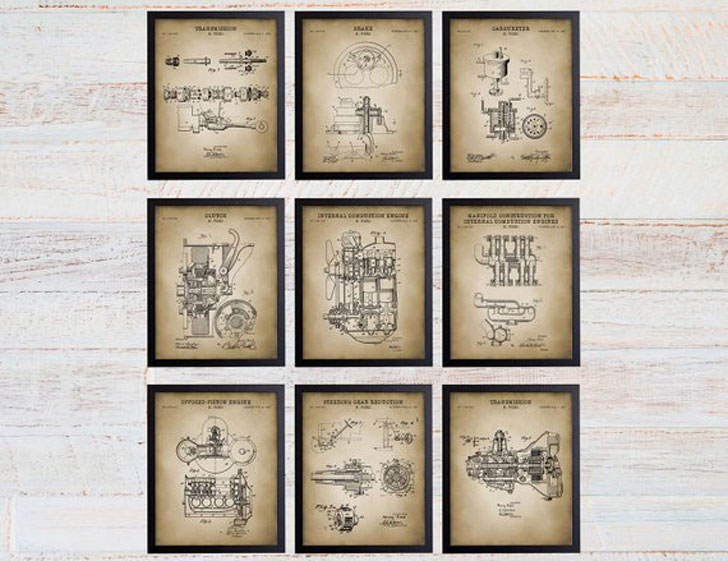 Henry Ford Patent Print Set