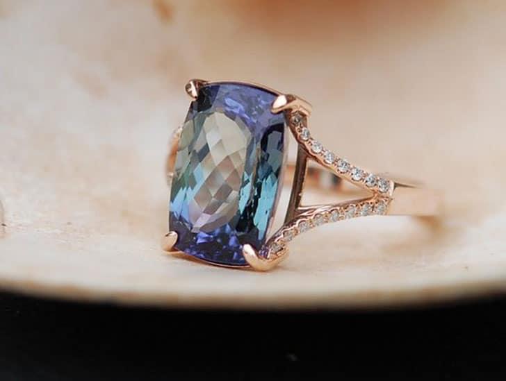 Lavender Mint Tanzanite Cushion Cut 14k Rose Gold Engagement Ring