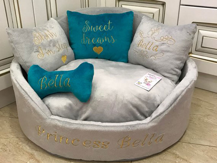 Light Grey and Aquamarine Luxury Bed for Dogs - unique dog beds