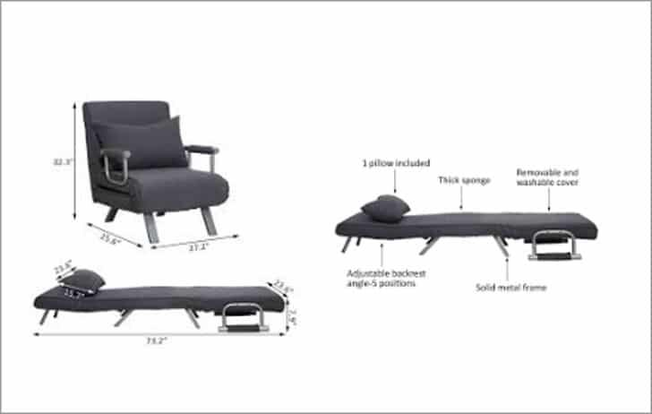 Longoria Folding 5 Position Convertible Chair