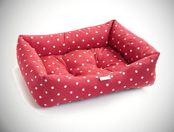 Maroon Red Polka Dog Cotton Dog Bed