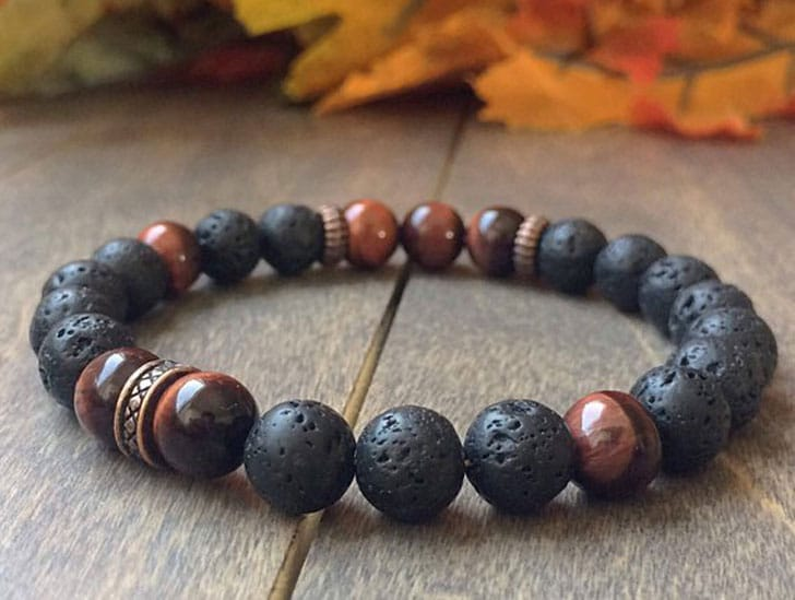 Mens Red Tiger's Eye & Lava Rock Mala Bracelet