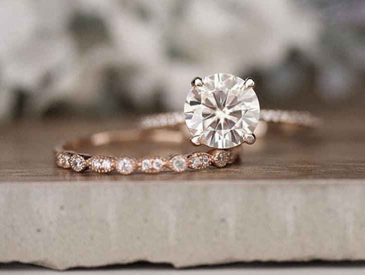 Moissanite Round 7mm and Diamond Bridal Ring Set