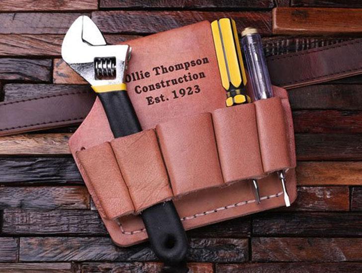 Monogrammed Engraved Men's Leather Tool Belt