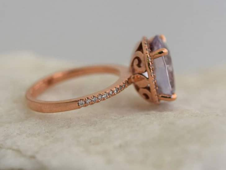 Moonlight Sapphire 4.57ct Color Change Sapphire Rose Gold Engagement Ring