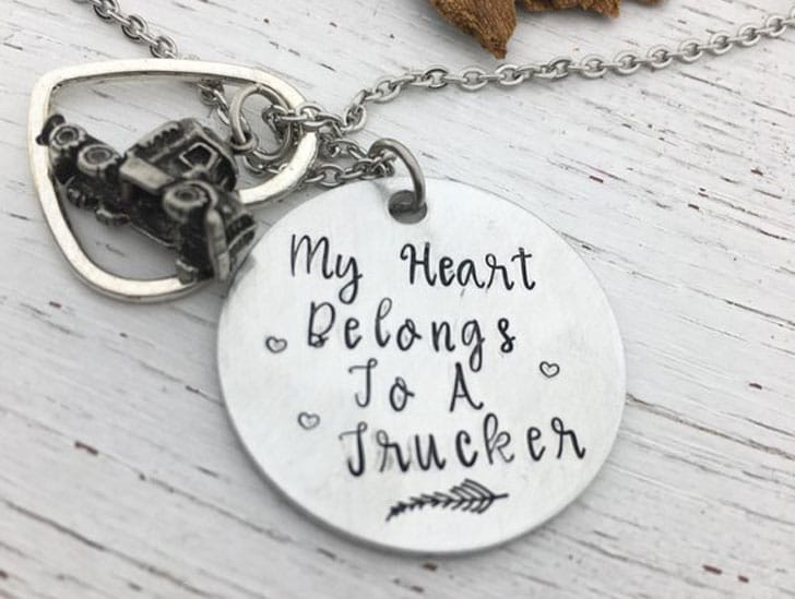 My Heart Belongs to a Trucker Necklace