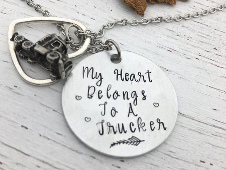 My Heart Belongs to a Trucker Necklace