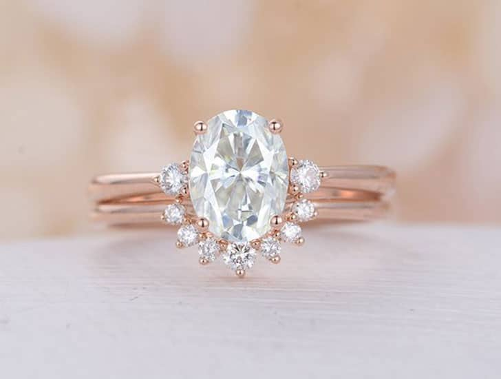 Oval Moissanite Cluster Bridal Engagement Rose Gold Ring Set