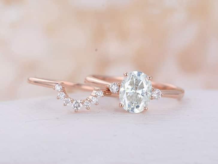 Oval Moissanite Cluster Bridal Engagement Rose Gold Ring Set
