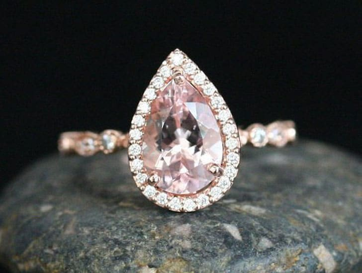 Pear 10x7mm Pink Morganite and Diamond Halo 14k Rose Gold Engagement Ring