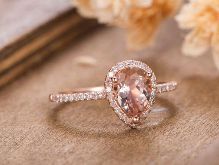 Pear Shaped Halo Diamond Rose Gold Engagement Ring