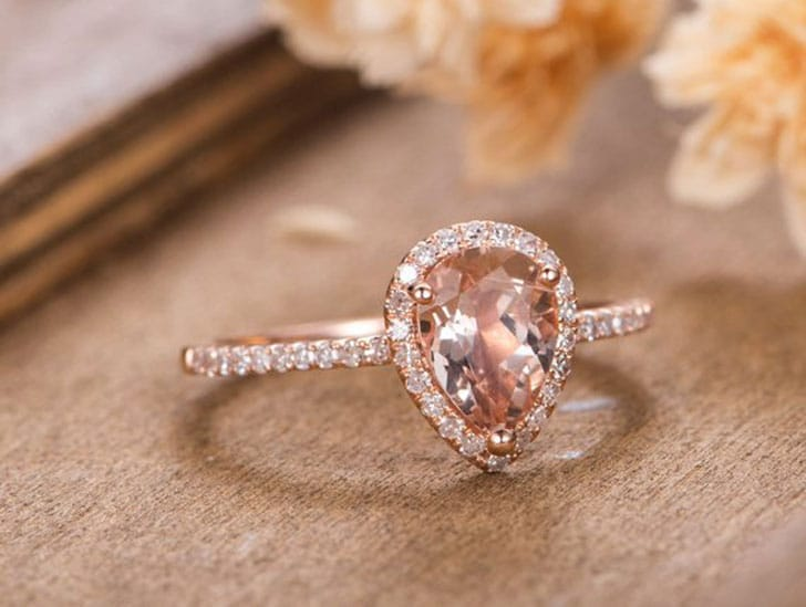 Pear Shaped Halo Diamond Rose Gold Engagement Ring