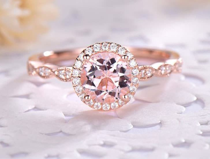 Pink Morganite Rose Gold Engagement Ring