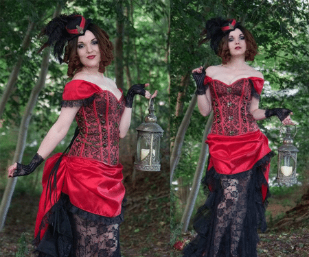 Red Saloon Girl Steampunk Costume