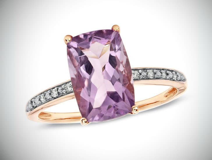 Rose de France Amethyst Ring in 10K Rose Gold
