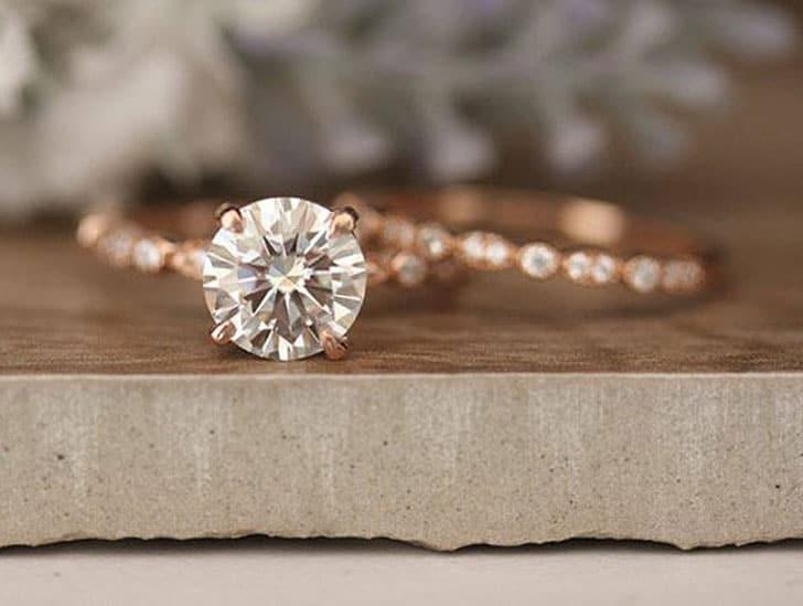 Round 8mm Moissanite Diamond Milgrain Band Solitaire Ring